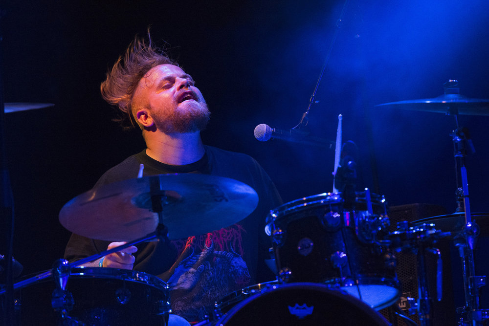 "Jonathan Hartman of Honor Amongst Thieves performs during the ""Element of Truth"" album release show at the House of Blues in Las Vegas, Nev., on February 10, 2017."