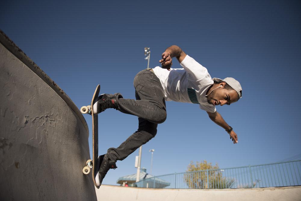 Jarrod Sampson skateboards at Desert Breeze Skate Park in Las Vegas, Sunday, Oct. 2, 2016.