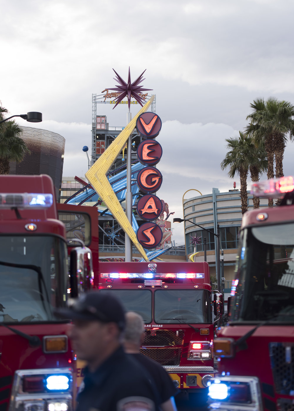 During a photoshoot Las Vegas Fire & Rescue vehicles line Fremont Street at 6th Street in Las Vegas, Nev., Tuesday, March 21, 2017.