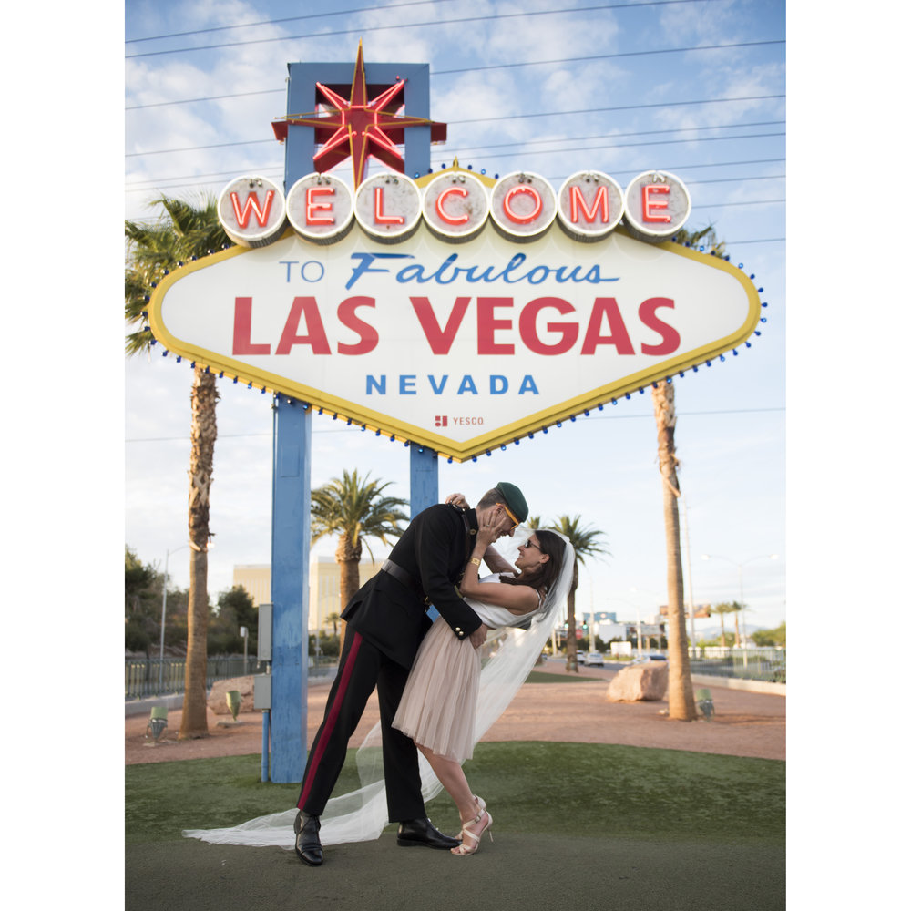Post-wedding vow renewal visit to the Welcome to Fabulous Las Vegas sign, March 26, 2017.