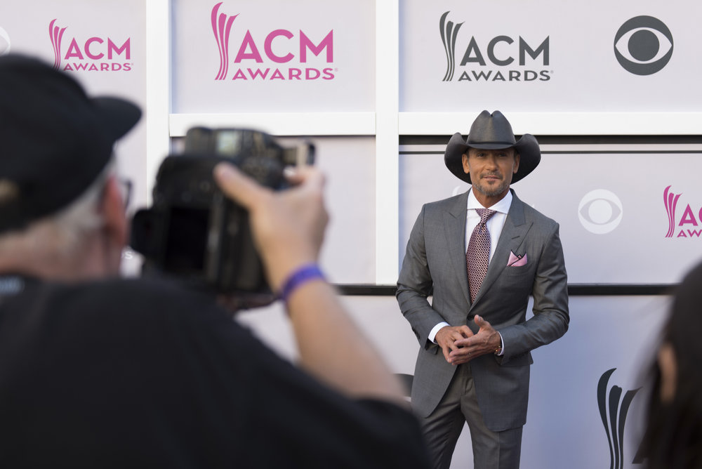 Tim McGraw arrives on the red carpet at the Academy of Country Music Awards at T-Mobile Arena in Las Vegas, Nev., on April 2, 2017.
