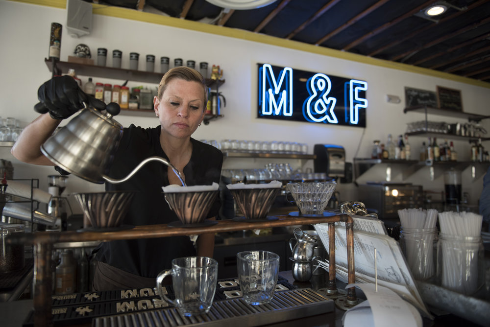 Erin Riek brews two V60 pour over coffees at Makers & Finders Coffee in downtown Las Vegas, Nev., Tuesday, Jan. 17, 2017. Jason Ogulnik for Parts Unknown, CNN