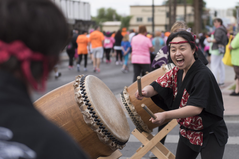 Las Vegas Kaminari Taiko performs at the start line of the Susan G. Komen Race for the Cure in downtown Las Vegas, Nev., May 7, 2016. The event raises funds for breast cancer awareness, research and treatment.