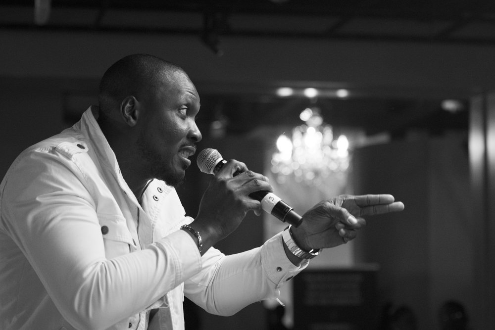 Comedian Seyi Brown performs during the I Am Somebody Las Vegas 2.0 show at Mia's Banquet Hall in Las Vegas, Dec. 17, 2016.