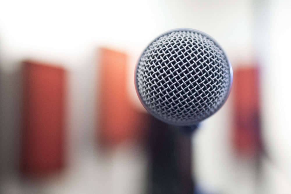 A dynamic microphone is seen at National Southwestern Recording in Las Vegas, Nev..