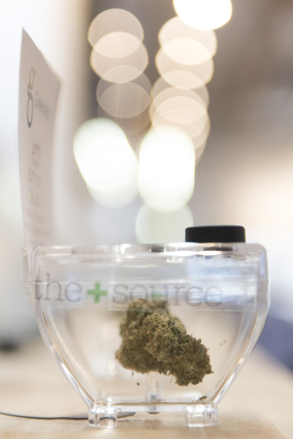 In Las Vegas, Nev. on July 1, 2017, a sample of marijuana is displayed at The Source marijuana dispensary during the first day of the state's recreational marijuana sales. State residents and visitors over the age of 21 are able to purchase up to one ounce of marijuana flower and 1/8 ounce of concentrate.