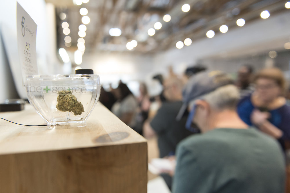 In Las Vegas, Nev. on July 1, 2017, a sample of marijuana is displayed at The Source marijuana dispensary during the first day of the state's recreational marijuana sales. State residents and visitors over the age of 21 are able to purchase up to one ounce of marijuana flower and 1/8 ounce of concentrate. (Photo by Jason Ogulnik)