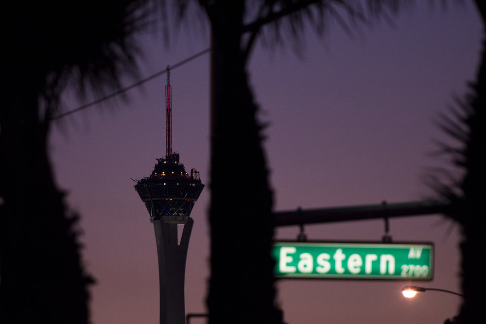 The Stratosphere is seen from Eastern Ave. and Karen Ave. in Las Vegas, Nev. on July 14, 2017.