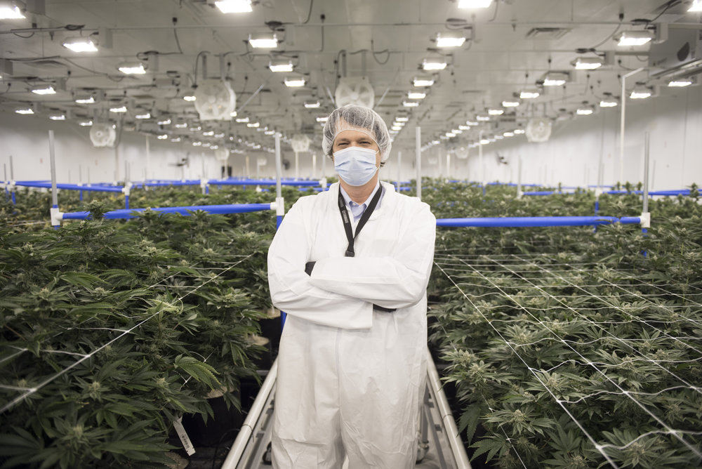 Joe Brezny, a spokesperson and consultant for the marijuana industry, poses in the grow facility at Shango cannabis dispensary in Las Vegas, Nev. on July 28, 2017.