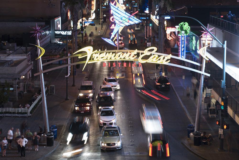 Traffic moves along Fremont Street at Las Vegas Boulevard in Las Vegas, Nev..