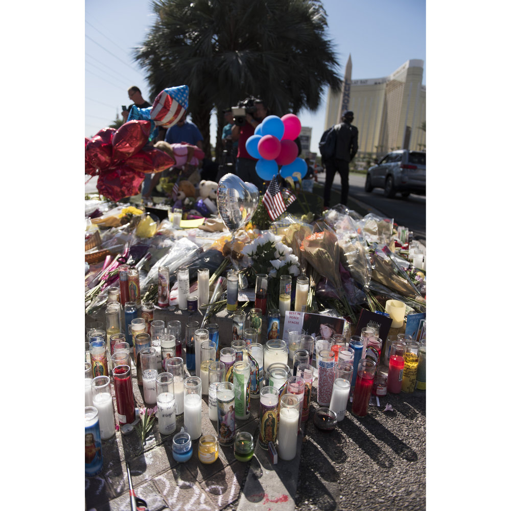A makeshift memorial for the victims of the Route 91 Harvest Country Music Festival mass shooting is seen next to the crime scene on the Strip in Las Vegas, Nev., Oct. 5, 2017.