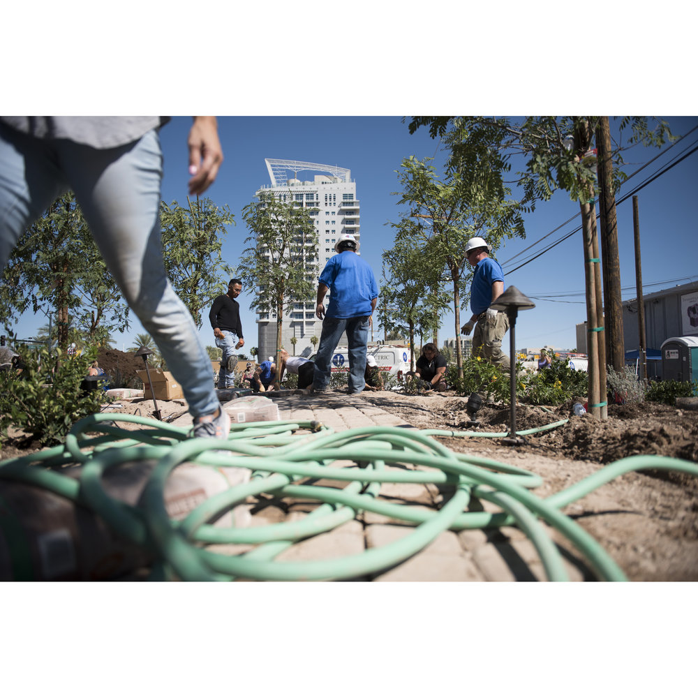 On Oct. 6, 2017, in downtown Las Vegas, Nev., volunteers work on the Las Vegas Community Healing Garden to commemorate the victims of the Route 91 Harvest Country Music Festival mass shooting.