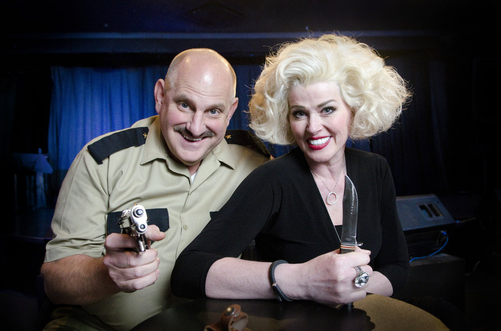 Jayne and Eric Post pose before a dinner theatre comedy performance of their show Marriage Can Be Murder at The D hotel-casino in Las Vegas, Nev., March 13, 2015.