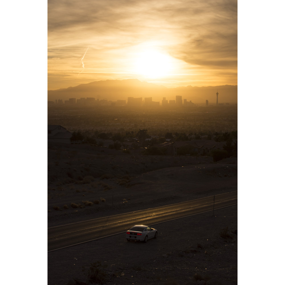 The Strip in seen from Lake Mead Boulevard near Hollywood Boulevard during sunset in Las Vegas, Nev., Nov. 24, 2017.