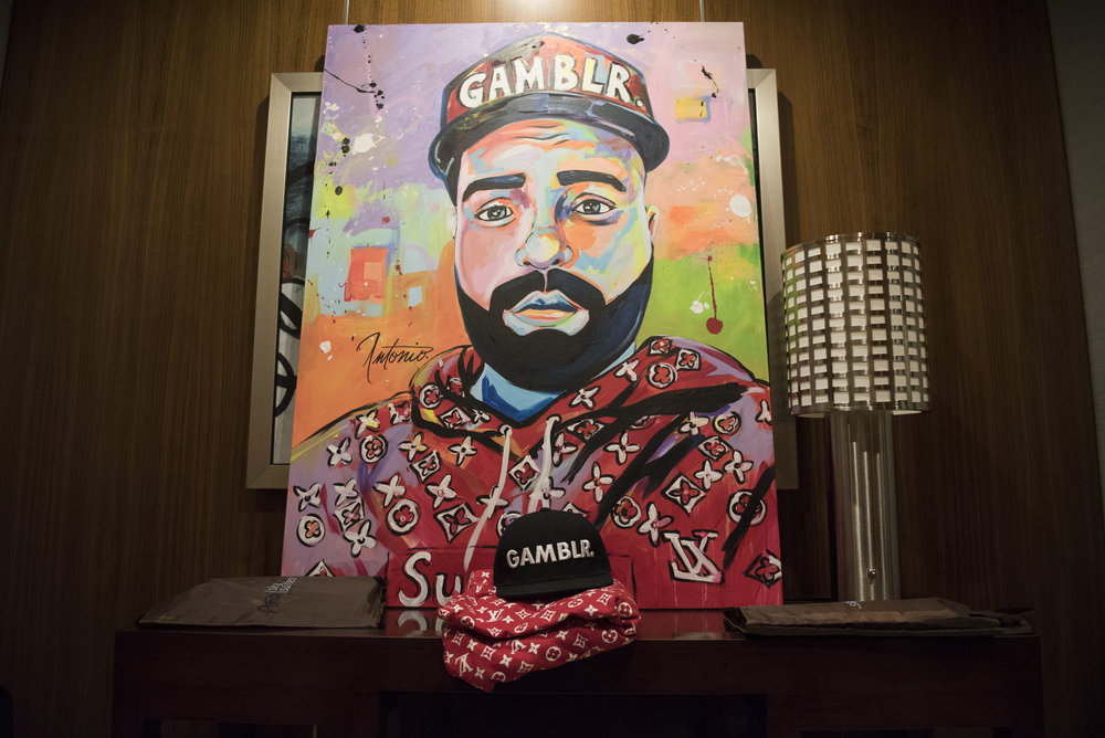 A painting of Rob Gorodetsky by Las Vegas based artist Antonio sits on a table in Gorodetsky's Aria hotel-casino suite in Las Vegas, Nev., Nov. 17, 2017.