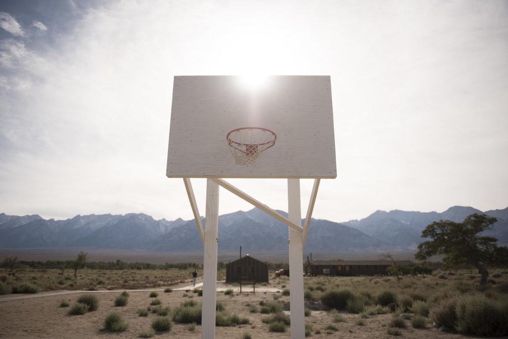 Basketball hoop at Manzanar Japanese concentration camp near Lone Pine, California.