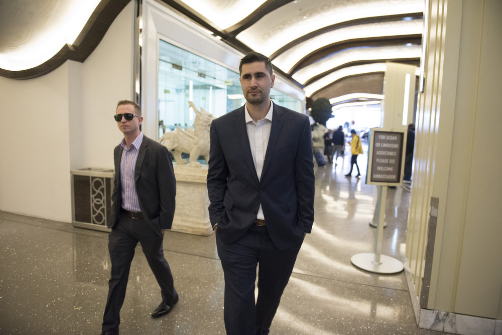 Case Mandel, CEO  of Cannadips, left, and Cliff Sammet, co-founder of Cannadips, leave The Cosmopolitan hotel-casino on their way to the Marijuana Business Conference & Expo in Las Vegas, Nev., Nov. 15, 2017.