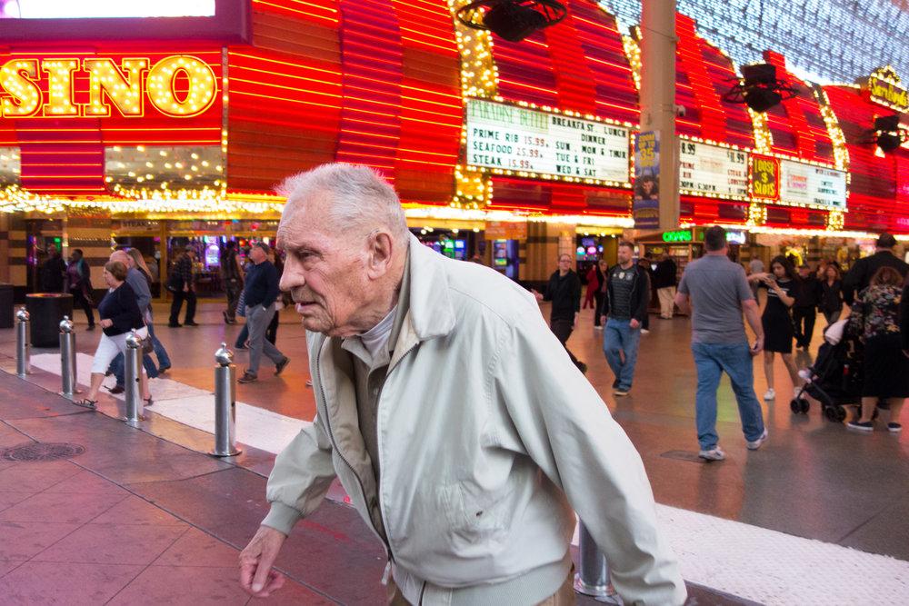 Fremont Street and Casino Center Boulevard in downtown Las Vegas. Jan. 31, 2019.