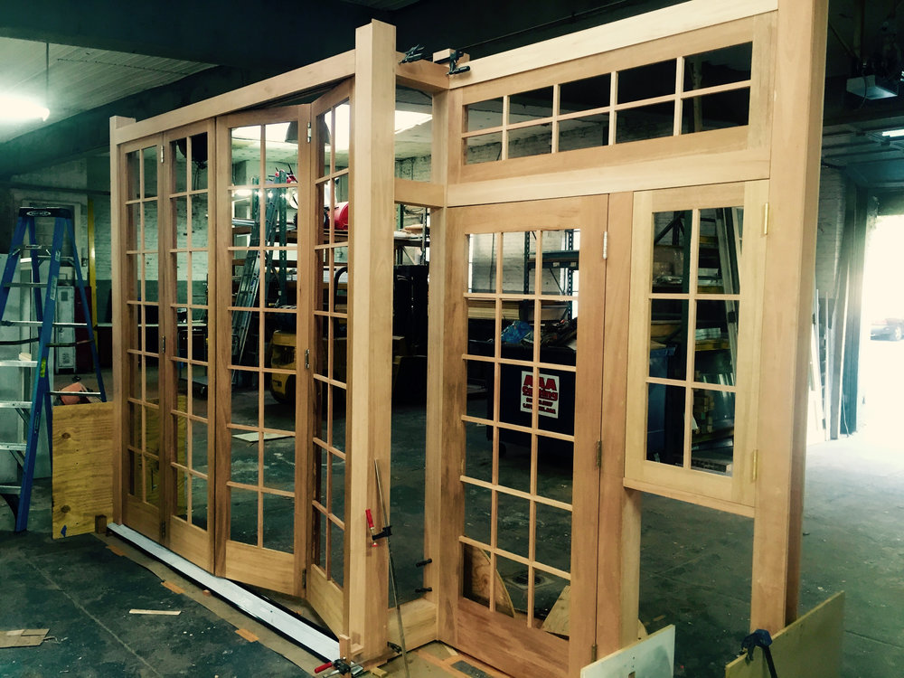 Right Path Windows & Restorations shop assembly of the custom storefront facade.