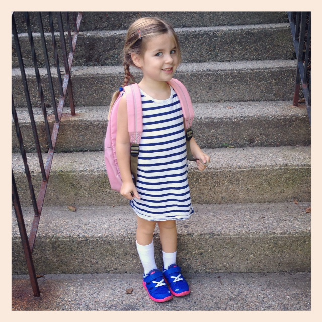 My middle on her first day of preschool.
