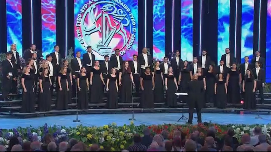 Chamber Choir of CSU Long Beach, performing in Wales, where they won the 2016 Choir of the World Award. This choir is to record the works of the Choral Tales Project.
