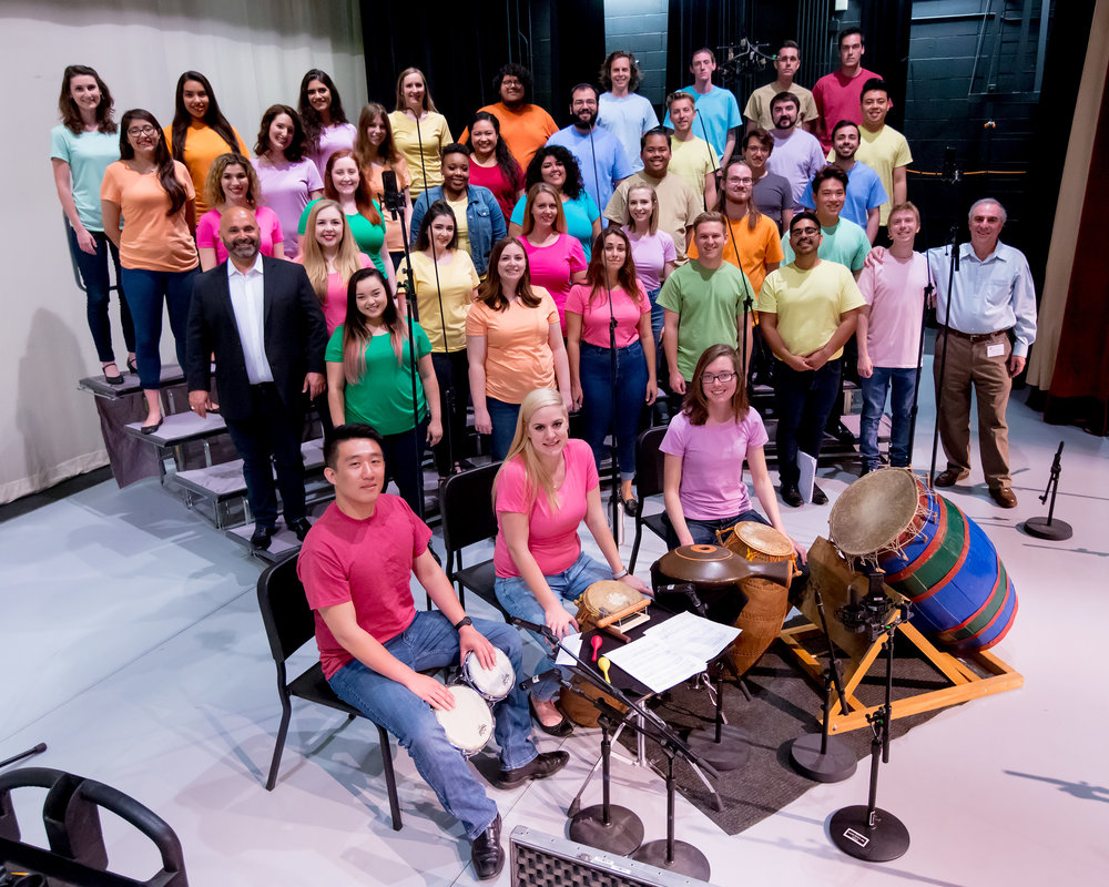 Dr. Jonathan Talberg (2nd row of choir, left) led the Chamber Choir of California State University, Long Beach, accompanied by percussionists Arthur Lin, Petra Elek and Bailey O'Donnell on African instruments.