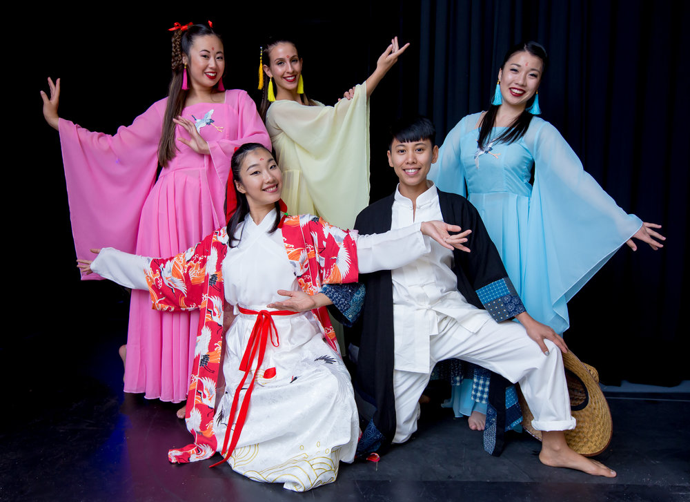 "Choreographer and dancer Jingqiu Guan (front left), with dancers Mizuki Sako, Kelsey Manes, Kristianne Salcines and Kyra Sakamoto. They performed ""Lord of the Cranes,"" based on a folk tale from China."