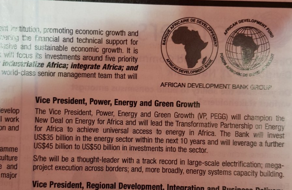 AfDB's ad in The Economist for a new energy-focused executive.