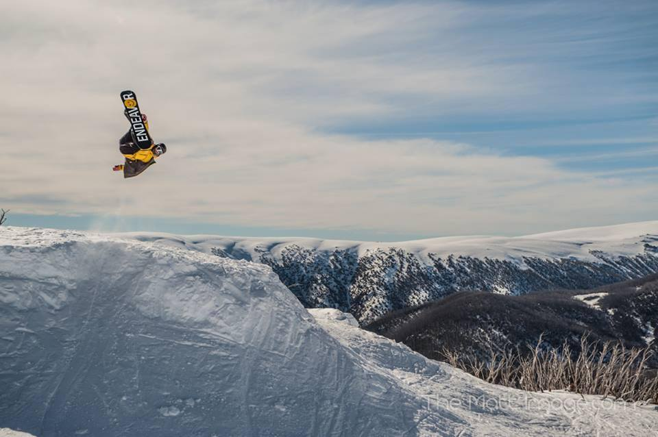 Matt Hull:  Mat Galina again, but i've been wanting to share this shot.    This was taken at the maze in   Falls Creek   a week ago, Mat throwing down a backy, because, well he can, what a view!