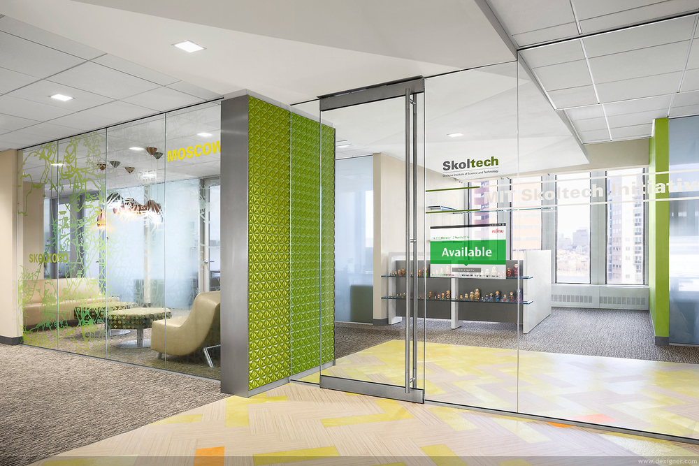 Customiseable room booking screens visitor tech for Technology office design