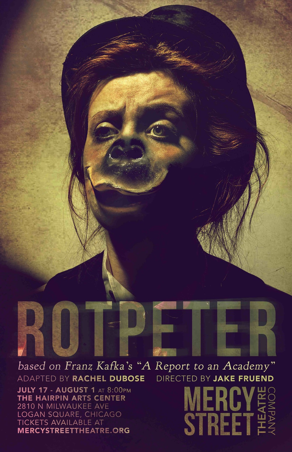 ROTPETER based on A Report to an Academy by Franz Kafka directed by Associate Artistic Director Jake L. Fruend adapted by Resident Playwright Rachel DuBose devised by the ensemble