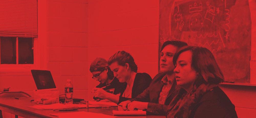 Slick Jorgensen, Amanda Gustafsson, Jake Fruend, and Camille Smith in rehearsal