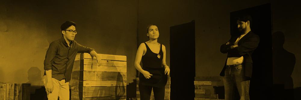 Ian Michael Smith, Valeria Rosero, and Victor Maraña in rehearsal