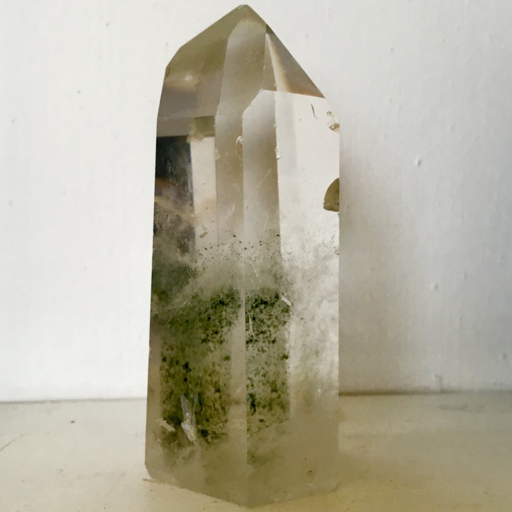 :: Quartz with Green Tourmaline ::