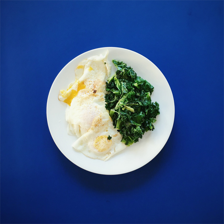 Now, I'm much more mindful to use veggies as an option. Kale happens to go fabulously with eggs.