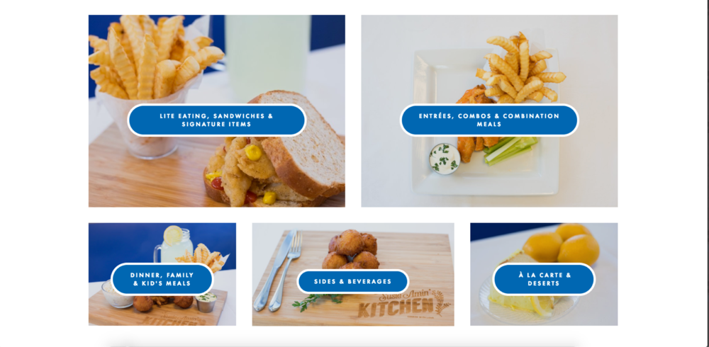 Easy menu access, click whichever option you are craving and be directed to the menu.
