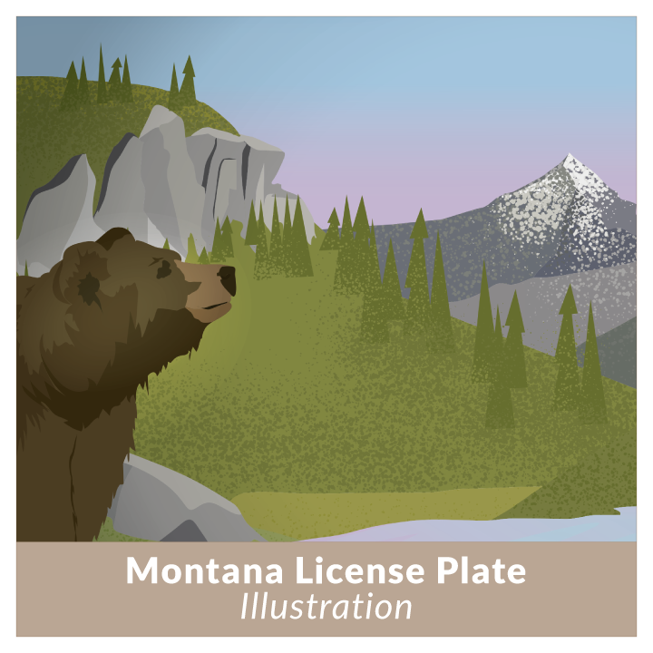 Montana License Plate Design and Illustration by Nikki Simon for nonprofit in Montana