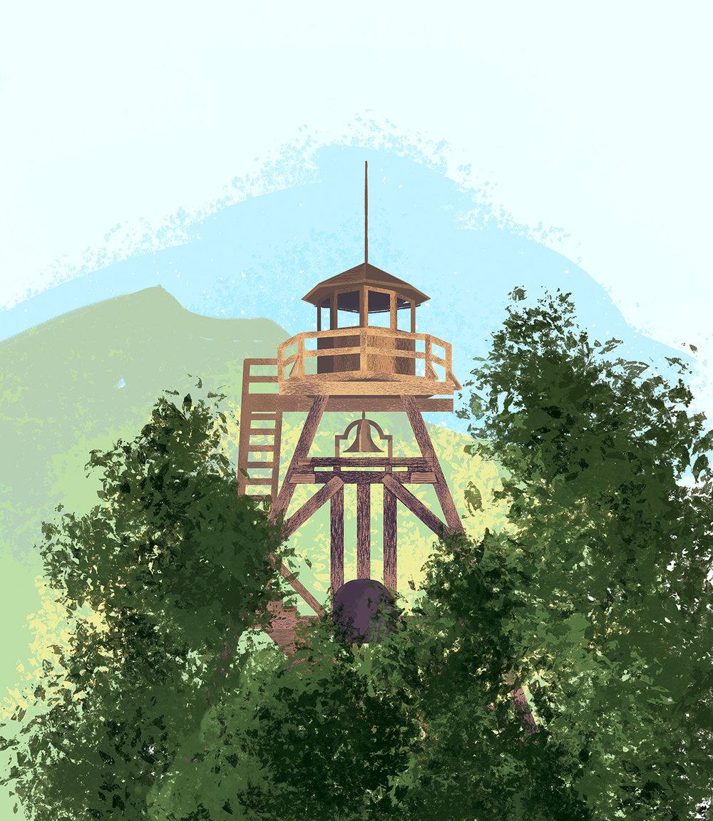 Helena, Montana, Fire Tower Illustration