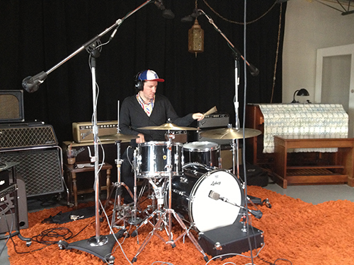 Mikey Holland laying down drum track for Cinematic at Watch City Studios in Waltham, MA