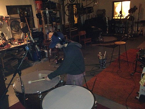 "Bryan Murphy tracking timpani during an overdub session for ""Cinematic"""