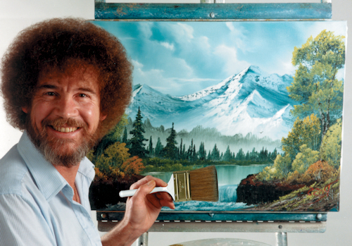 Bob painting happy little trees