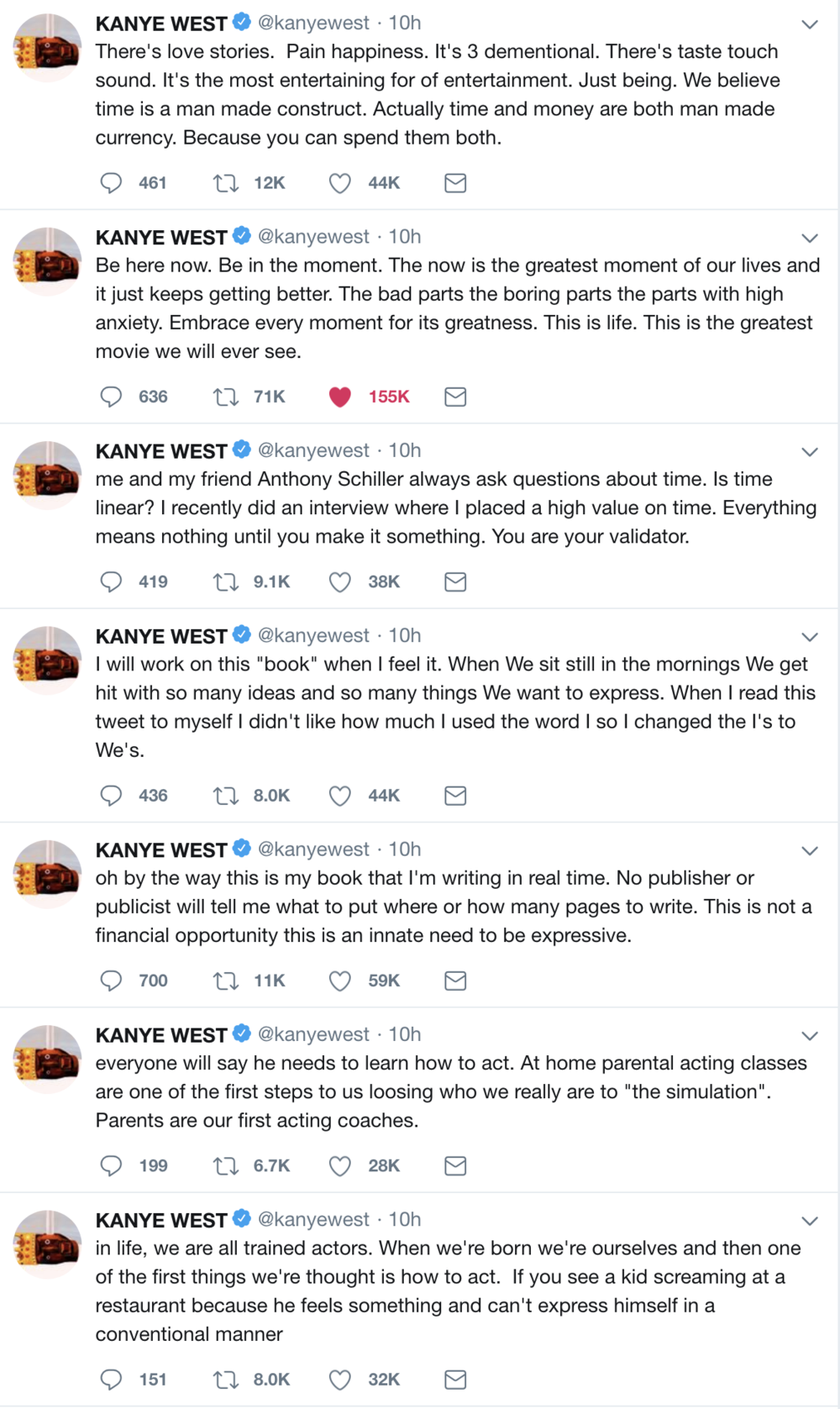 The new philosophical tweets of Ye