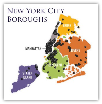 Pens for Bartenders NYC Borough Map