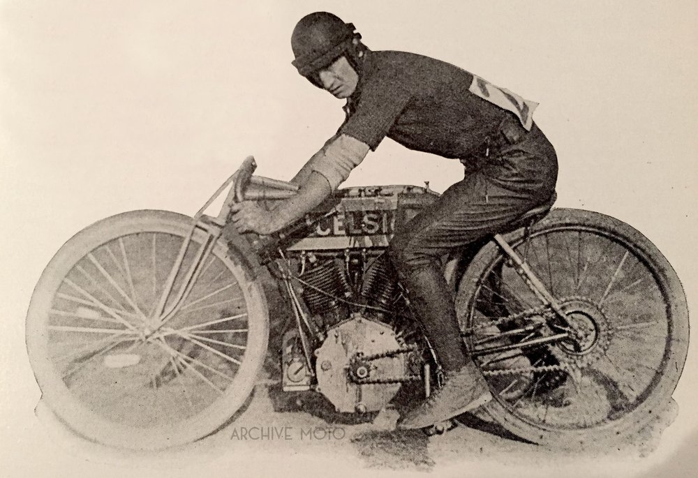 "Pictured is Jacob DeRosier, the world's fastest motorcycle racer shortly after his turbulent run down south onboard his Excelsior ""7"" at a race in Guttenberg, NJ on October 29, 1911."