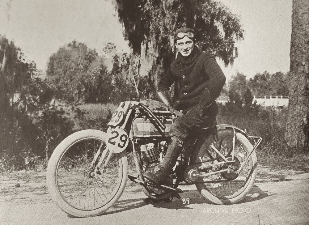 Ray Weishaar and his Harley-Davidson 11KR factory road racer in Savannah, Georgia on Thanksgiving Day, November 26, 1914.