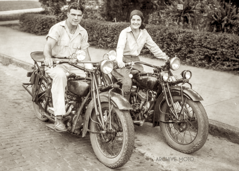 "William Lawrence ""Young"" Stribling and his wife Clara onboard their cherished Indian motorcycles in Macon, GA, ca. 1930."