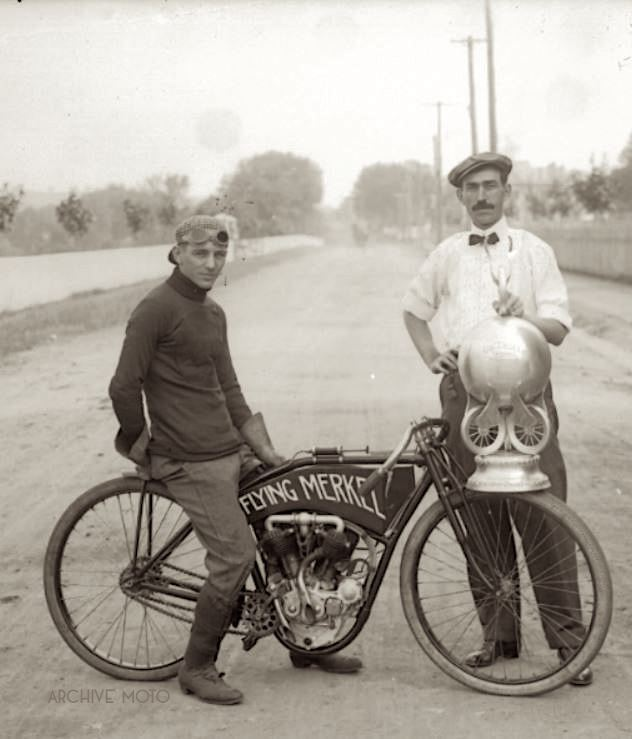 William J. Teubner and Joseph Merkel after Teubner won the 10-Mile F.A.M. National Championship trophy at the old Point Breeze track in Philidelphia on August 13th, 1910.