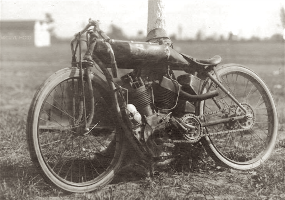 Shrimp's mangled 8-Valve Indian following his gruesome and fatal crash at the Fort Miami Mile, in Toledo, Ohio on August 14, 1921.