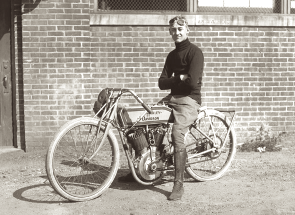 The teenaged Irving Janke captured outside of Harley-Davidson's Juneau Ave factory onboard one of William Ottaway's 11KT racers at the start of his professional career, ca. 1914.