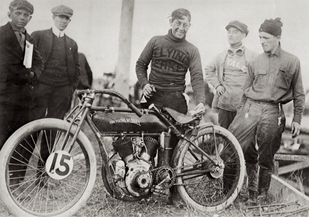 Maldwyn Jones enjoying a coke after the American Classic Championship 300-Mile Road Race in Savannah, Georgia, December 27, 1913.